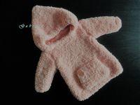 Dívčí pletený svetr - lososový ( 62/68 )