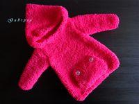 Dívčí pletený svetr - tmavě růžový ( 74/80 )