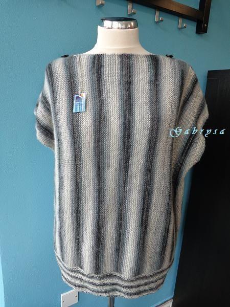 Dámská pletená vesta - šedočerná ( L/XXL ) Gabrysa