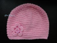 Dívčí háčkovaná čepice - světle růžová