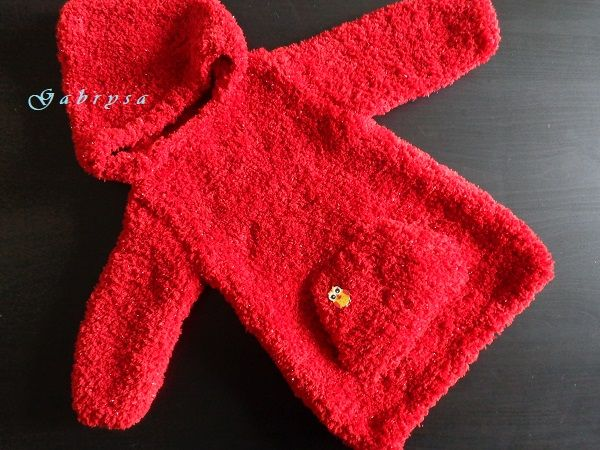 Dívčí pletený svetr - červený ( 92 ) Gabrysa