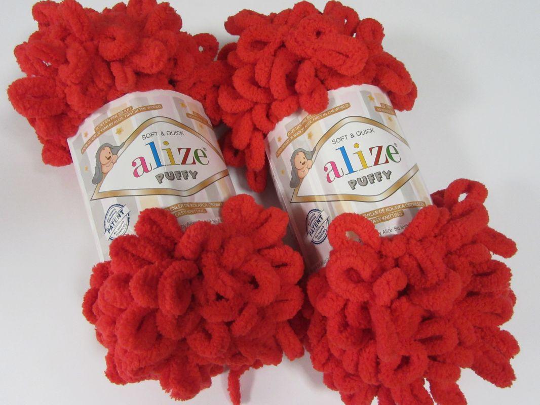 Příze Puffy - červená Alize