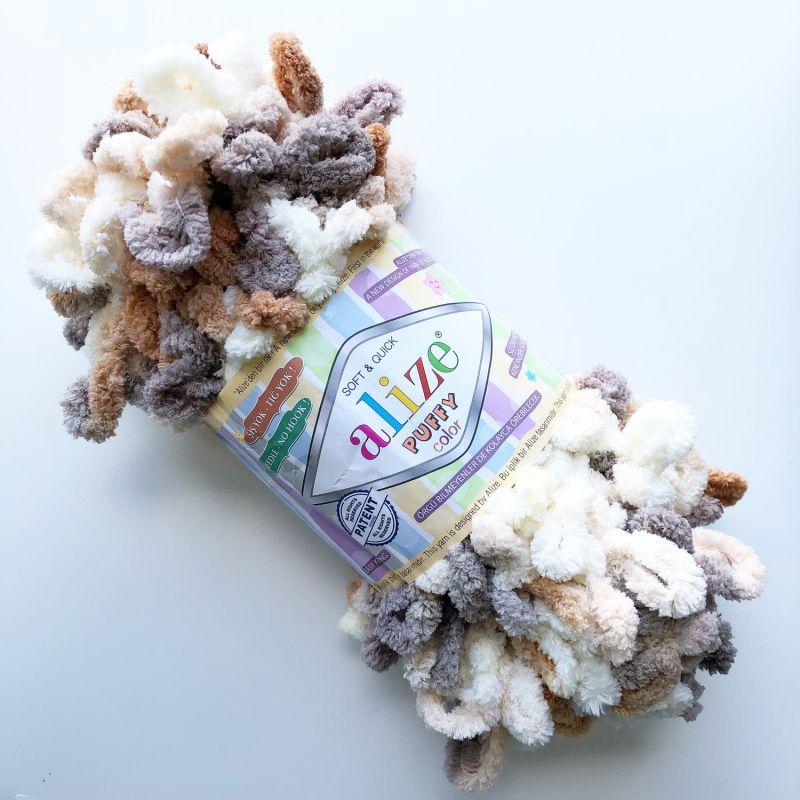 Příze Puffy color - hnědá Alize