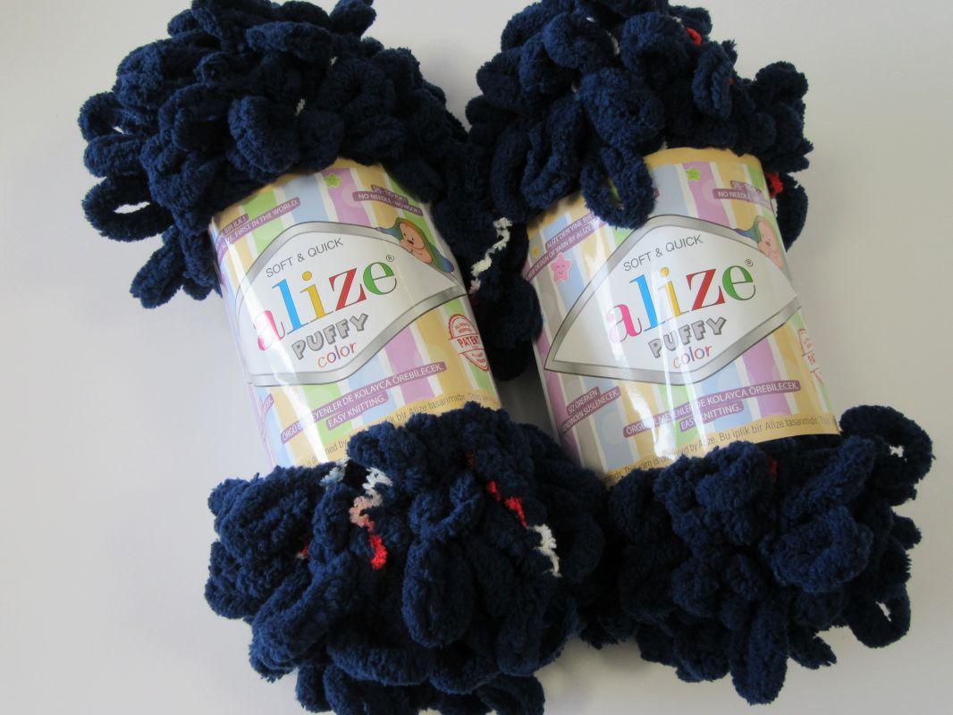 Příze Puffy color - tmavě modrá Alize