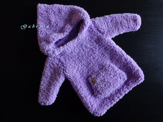 Dětský pletený svetr - světle fialový ( 62/68 ) Gabrysa