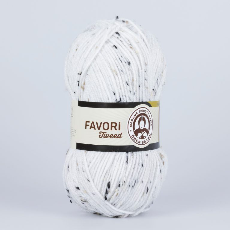 Příze Favori Tweed - bílá Madame Tricote Paris