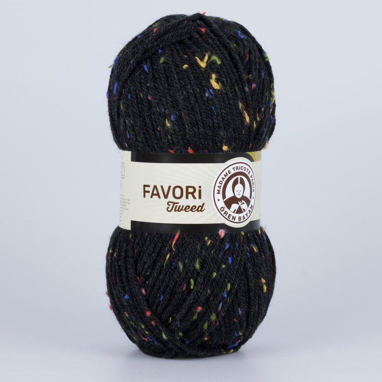 Příze Favori Tweed - černá Madame Tricote Paris
