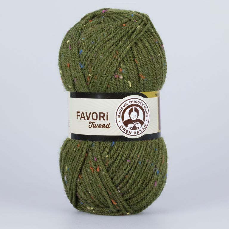 Příze Favori Tweed - khaki Madame Tricote Paris