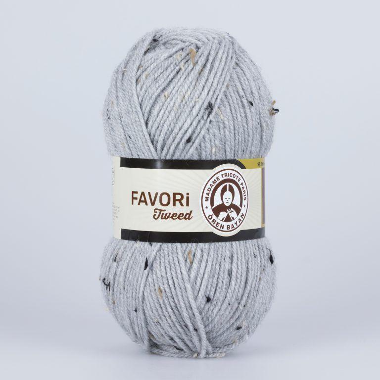 Příze Favori Tweed - světle šedá Madame Tricote Paris
