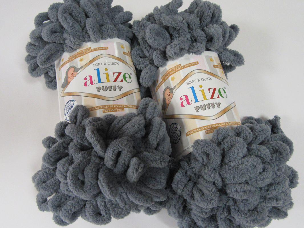 Příze Puffy - tmavě šedá Alize