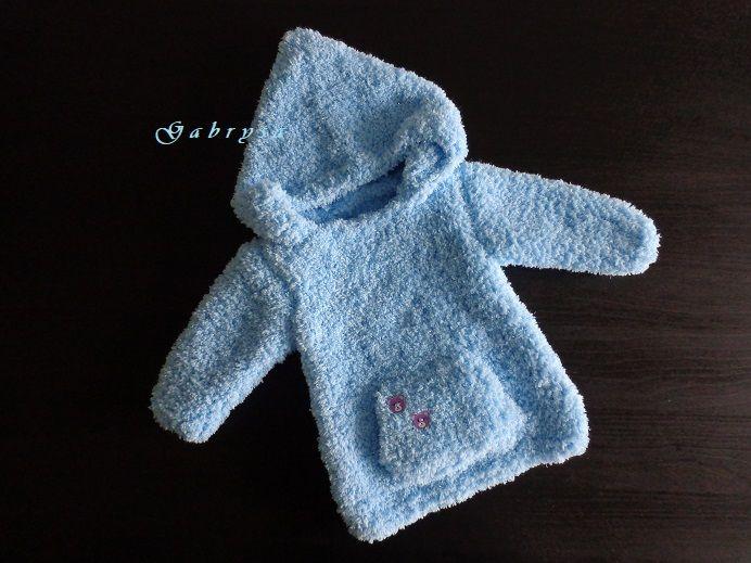 Dětský pletený svetr - světle modrý ( 62/68 ) Gabrysa
