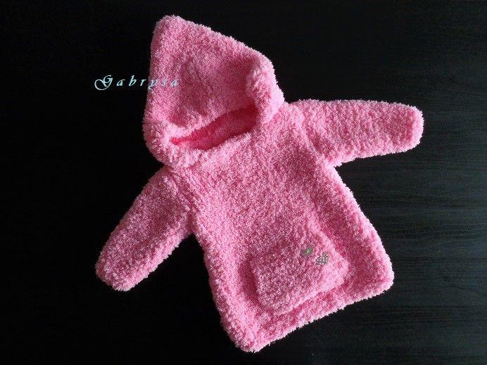 Dívčí pletený svetr - růžový ( 62/68 ) Gabrysa