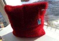 Pletený polštář - červený