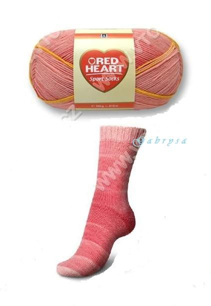Ponožková příze - červená Red Heart