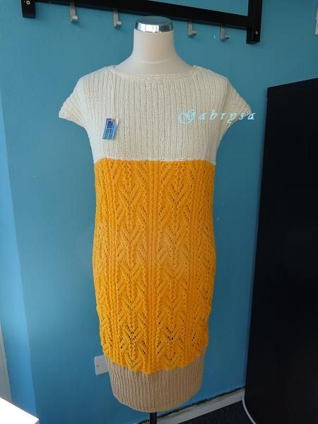 Dámské pletené šaty - žluté ( S/L ) Gabrysa
