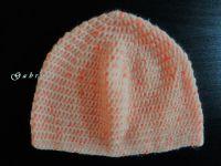 Dívčí háčkovaná čepice - neonově oranžová