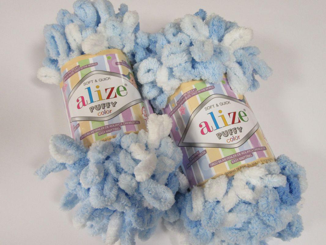 Příze Puffy color - bleděmodrá Alize
