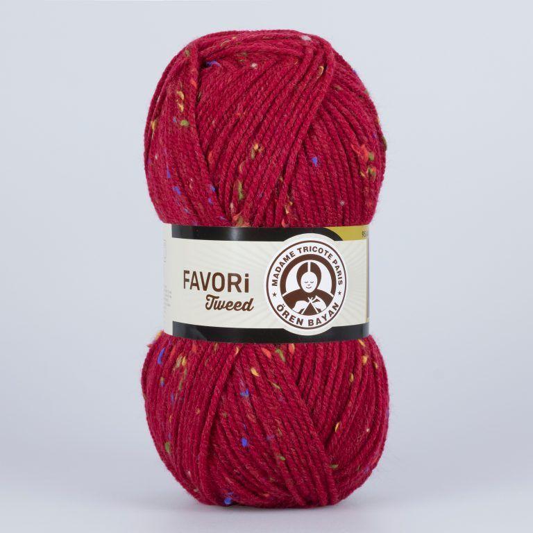 Příze Favori Tweed - tmavě červená Madame Tricote Paris